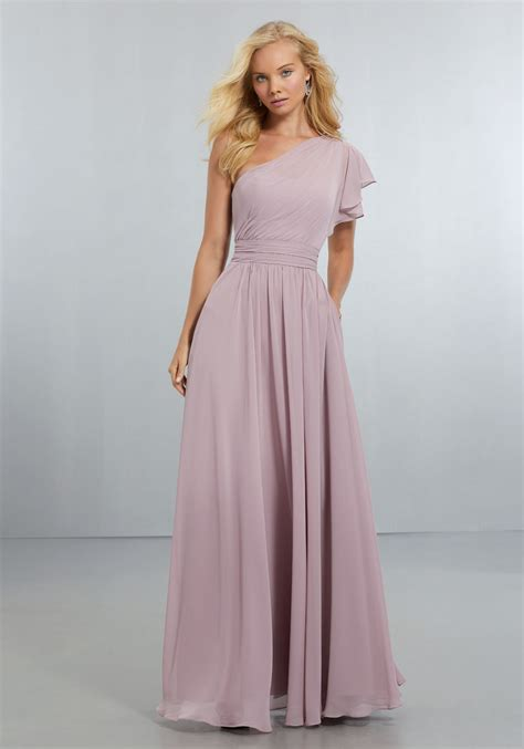 And Bridesmaid Dresses by Chiffon Bridesmaids Dress With One Shoulder Flounced
