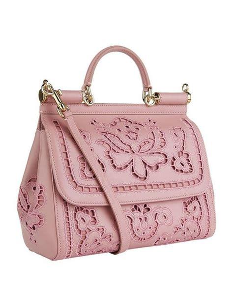 Dolce Gabbana Medium Fabric Bag In Ivory by Dolce Gabbana Medium Sicily Lace Shoulder Bag In Pink Lyst