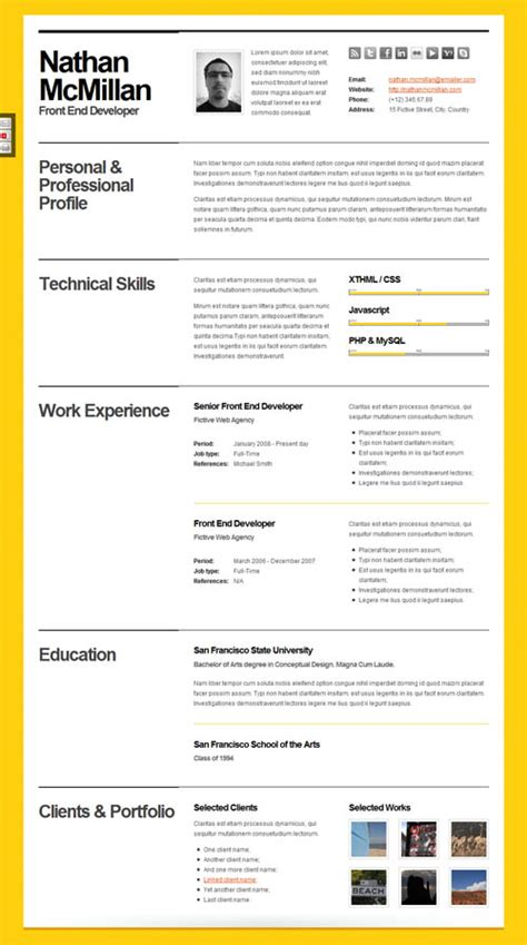 html resume template php 40 great html cv resume templates template idesignow