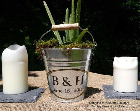Custom Table Decor Personalized Small Pail Rustic Wedding