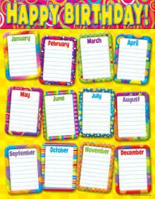 Birthday Chart Template For Classroom by Printable Birthday Chart Calendar Template 2016