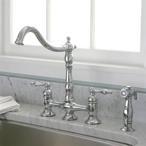 bridge faucets kitchen charelstown bridge style 2 handle chrome kitchen faucet