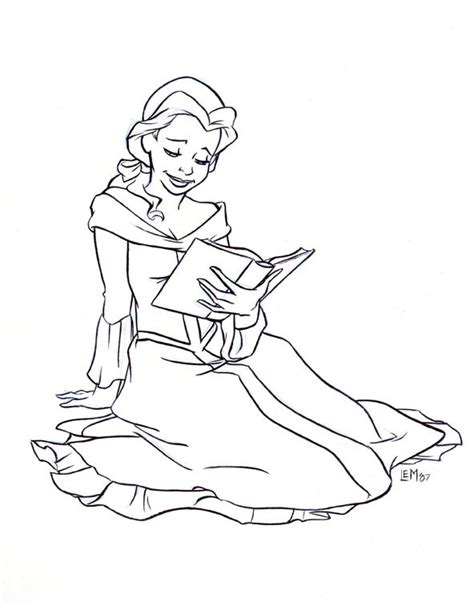 belle reading coloring pages belle reading a book in black and white belle fan art