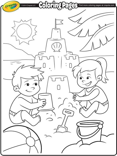 summer coloring pages crayola sand castles at the beach crayola ca