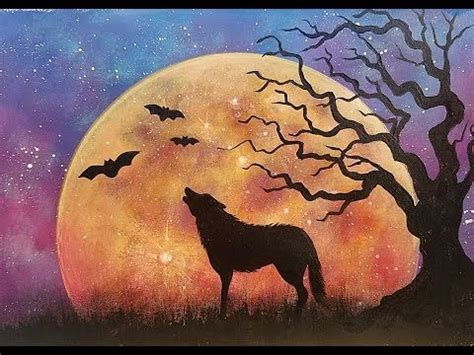 watercolor wolf tutorial halloween moon rising night sky landscape with wolf tree
