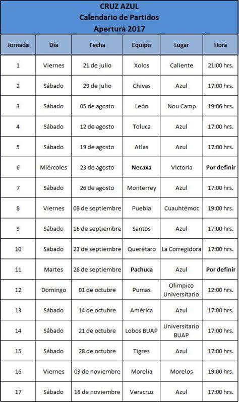 Calendario De Azul Calendario De Juegos De Azul Para El Apertura 2017