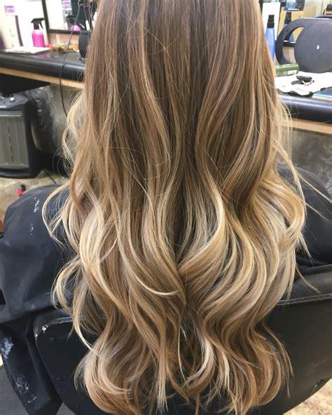 medium brown hair with honey partial honey highlights honey blonde balyage balyage pinterest blonde