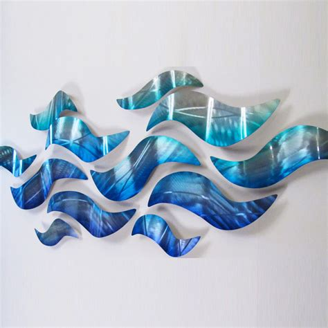 large sculptures home decor large metal wall sculpture modern abstract art blue wave