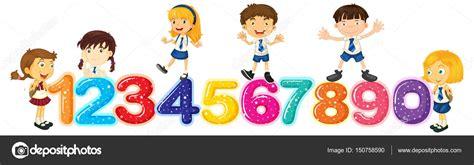 imagenes de niños jugando con numeros ni 241 os contando n 250 meros uno a cero vector de stock
