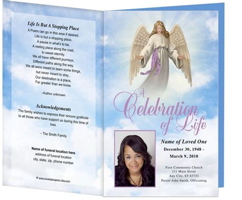 spiritual themed funeral programs angel design template