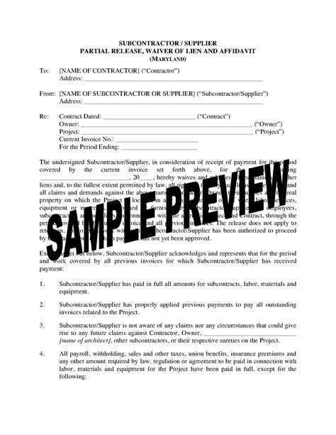 dividend waiver form template maryland subcontractor supplier lien waiver and release