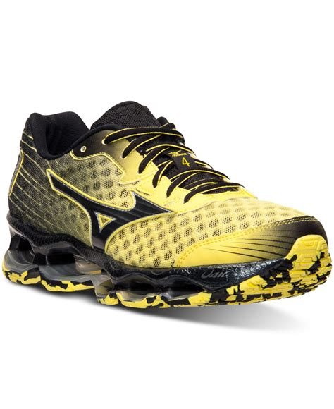 black mizuno running shoes lyst mizuno s wave prophecy 4 running sneakers from