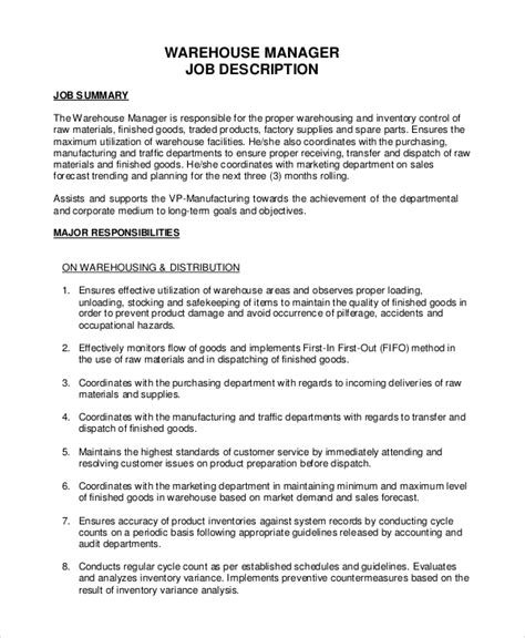 inventory manager description inventory management inventory manager resume