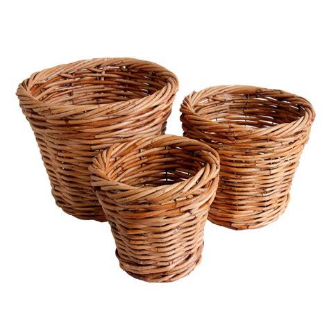 Wastepaper Basket Set Of 3 Wicker Pot Holders Kosmopolitan