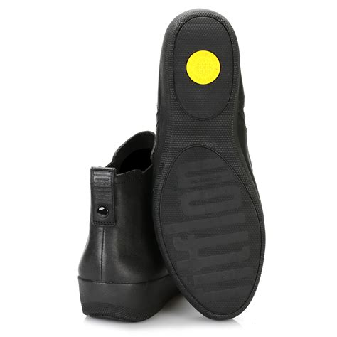 fitflop womens black chelsea ankle boots leather rubber