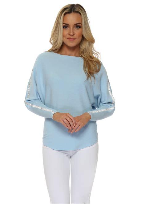 baby blue sleeve baby blue diamonte sleeve jumper