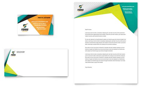 business card and stationery template fitness trainer business card letterhead template design