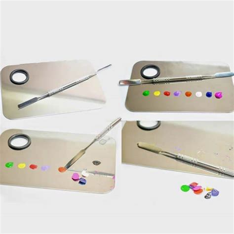 Mixing Palette Stailess Steel Spatula Grosir stainless steel plate nail cosmetic color mixing palette spatula at banggood