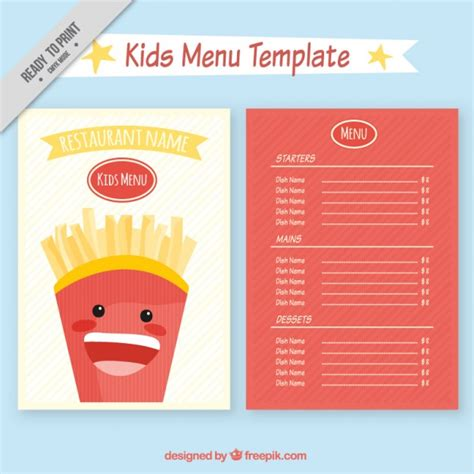 kid menu template restaurant menu template vector free