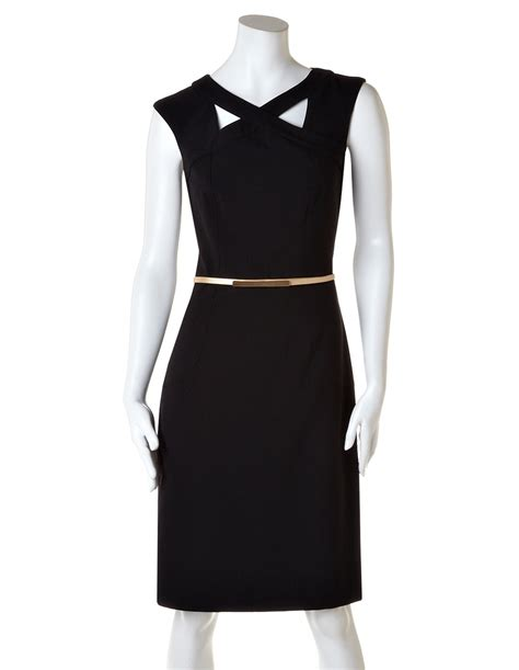 black dress gold belt dress uk