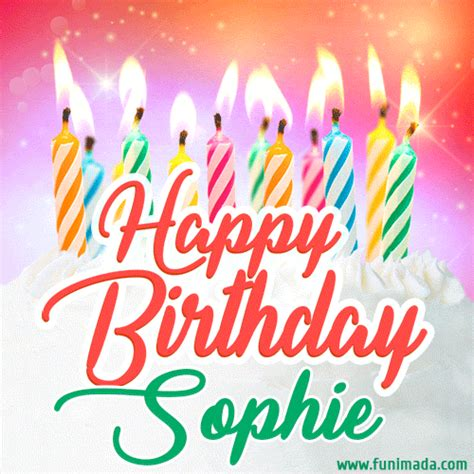 happy birthday gif  sophie  birthday cake  lit candles   funimadacom