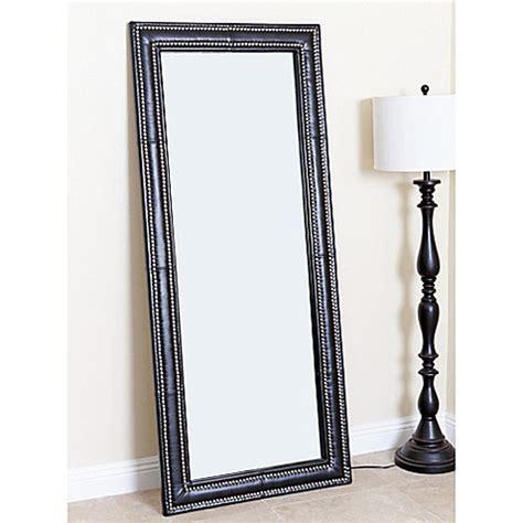 abbyson living 174 30 inch x 70 inch leather nailhead rectangular floor mirror bed bath beyond