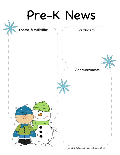 Free Pre K Newsletter Templates the crafty pre k winter newsletter template