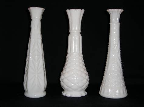 White Milk Glass Vase by Vintage White Milk Glass Vases Set Of Three Different Designs