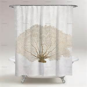 gold coral fan shower curtain oliver gal