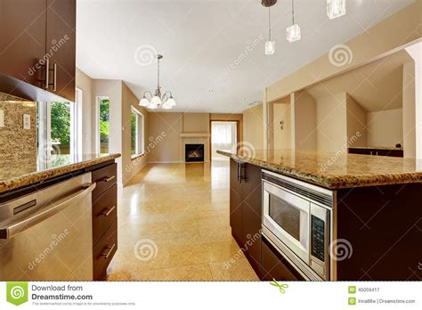 Kitchen Island Plans Free empty house interior with kitchen area marble tile floor