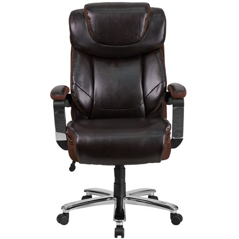 500 lb capacity executive leather office chair with gas lift hercules series 500 lb capacity big brown leather