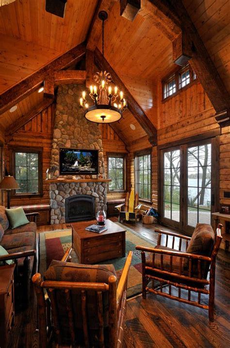Log Cabin Living Rooms 47 extremely cozy and rustic cabin style living rooms