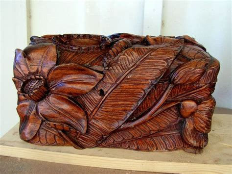 vintage high relief wood carving wooden carved box chest