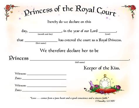 princess certificate template gse bookbinder co