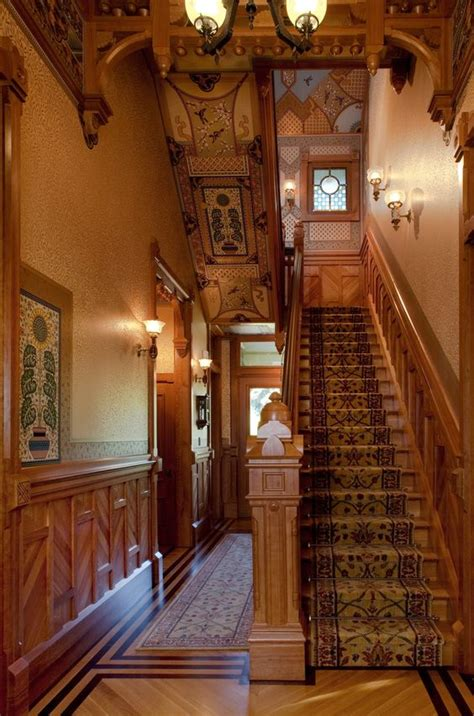 victorian banister stair walls stained glass and entry lighting on pinterest