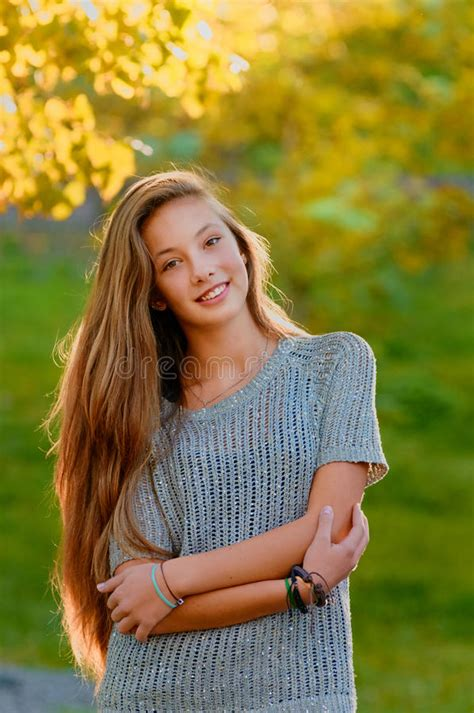 beautiful teen beautiful teen girl in the autumn fall stock photo image