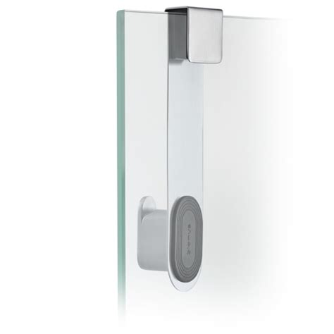 Shower Door Hooks Areo Brushed Stainless Steel Glass Shower Door Hook By Blomus