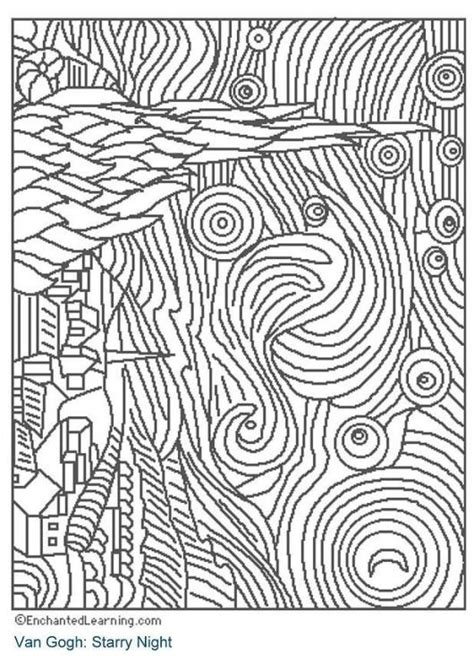 starry night coloring page art pinterest