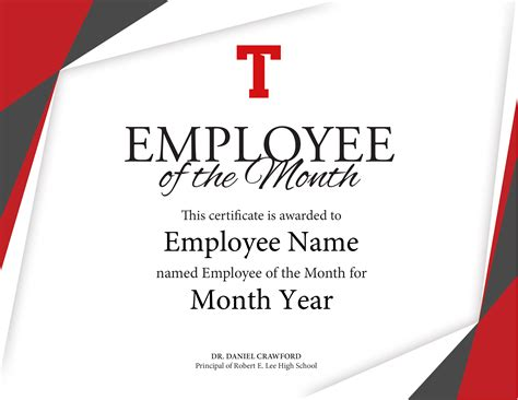 employee of month template employee of the month certificate cates sign