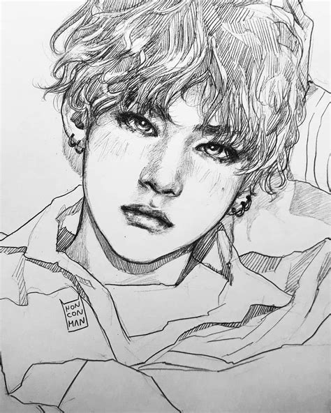 Jhope Drawing Easy by Taehyung Fanart Desenhos Bts Desenho
