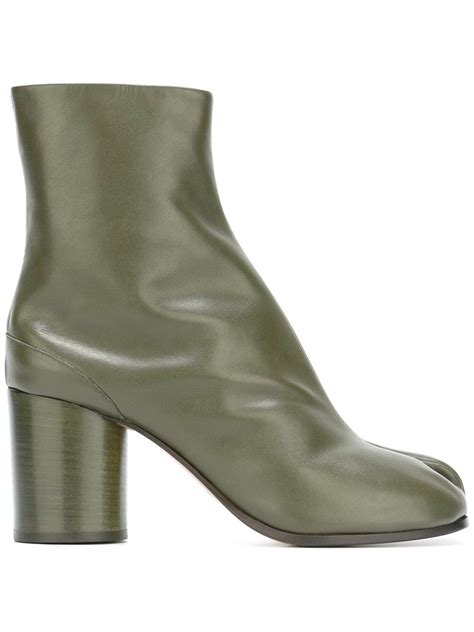 maison margiela tabi leather ankle boots in green lyst