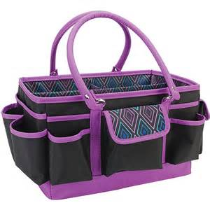 Mackinac moon open top craft tote black with multi geometric crafts