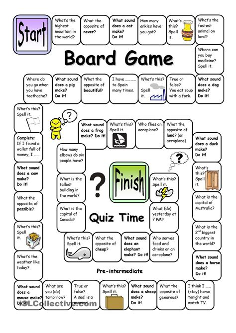printable board games for elementary students board game quiz time pre intermediate english