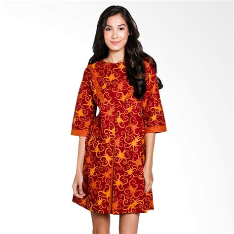 Dress Merah 02 jual batik arjunaweda sackdress cumikan warna