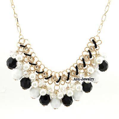 Kalung Fashion Chain Decorated Tassel Design mechanic black imitate pearl weave alloy bib necklaces