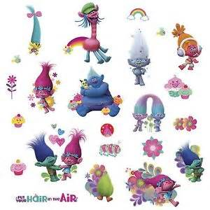trolls movie wall glitter decals poppy branch cooper guy