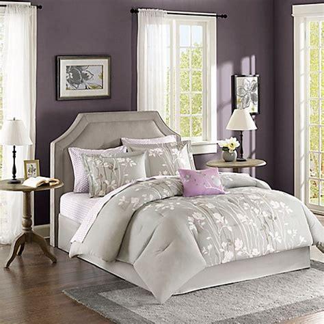 madison park essentials vaughn comforter set in grey bed