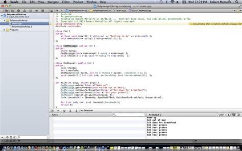 Xcode Tutorial Array | c xcode oop polymorphic array tutorial robert metcalfe