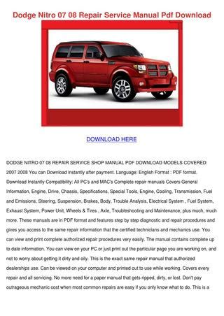 how to download repair manuals 2011 dodge nitro instrument cluster dodge nitro 07 08 repair service manual pdf d by ahmadvalle issuu