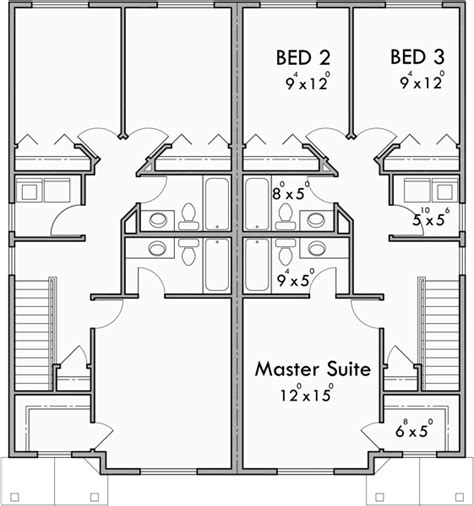 duplex house plans with garage in the middle upper floor plan for d 599 duplex house plans 2 story